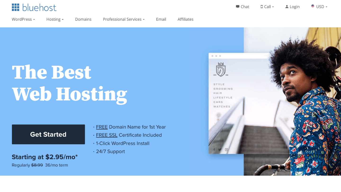 Bluehost homepage-How to Start a Blog in 2021 (and Make Money): Easy Guide to Start Blogging Today